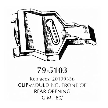 Clip moulding front of rear opening