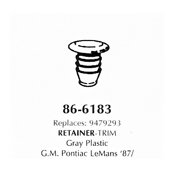 Retainer- Trim, gray plastic