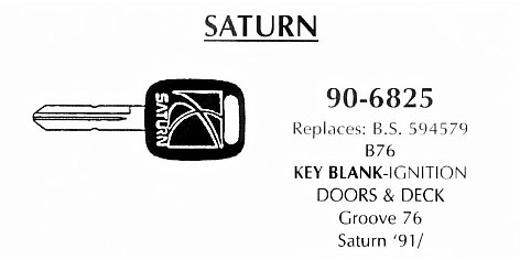 Key blank door, deck & ignition