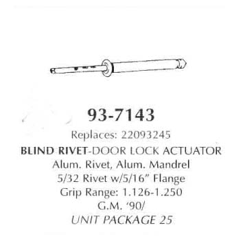 Blind Rivet-Door Lock Acutator, Alum. Rivet, Alum. Mandrel